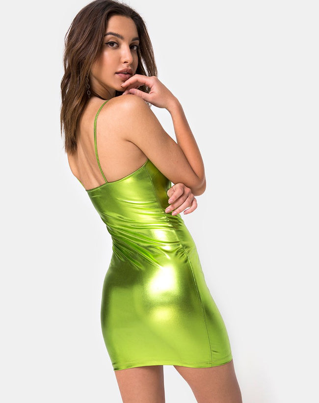 Selah Dress in Metallic Green by Motel