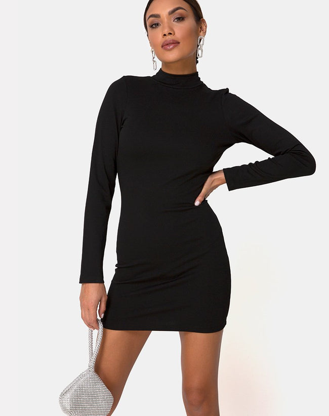 Sellio Dress in Heavy Lycra Black by Motel