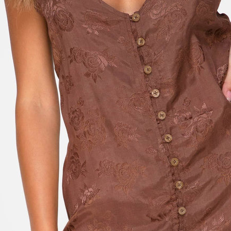 Senia Dress in Satin Rose Chocolate by Motel
