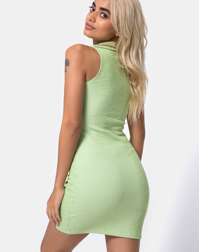 Senja Bodycon Dress in Rib Pastel Lime by Motel