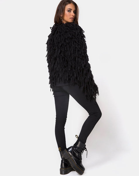 Shaggy Knit Cardi in Moheir Black By Motel