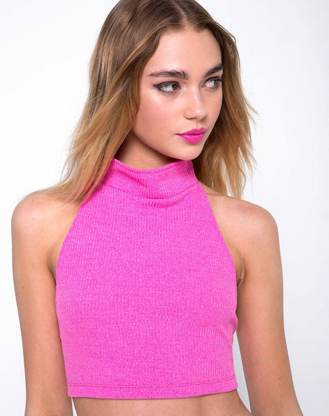 Sharma Crop Top in Knit Crink Hot Pink by Motel