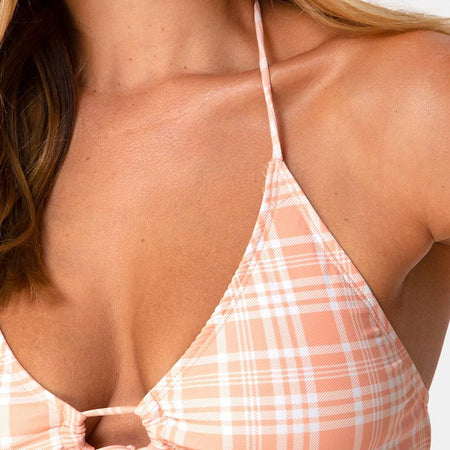 Shell Bikini Top in Picnic Check Peach by Motel