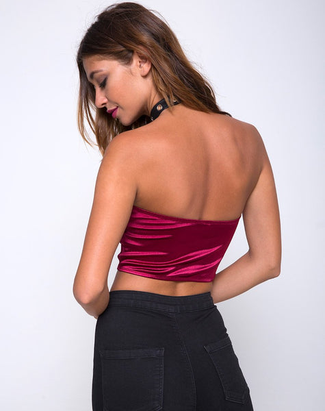 Shisui Tube Top in Satin Burgundy by Motel