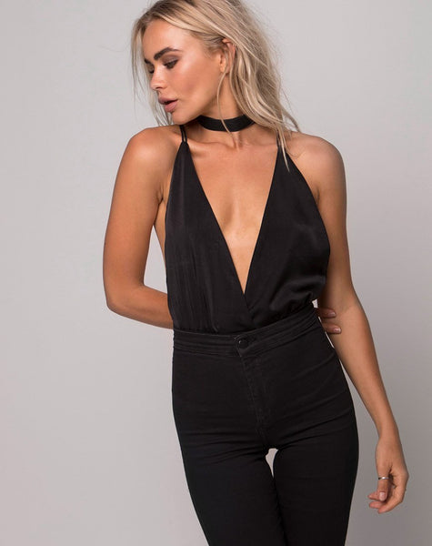 Sloan Plunge Bodice in Satin Black by Motel