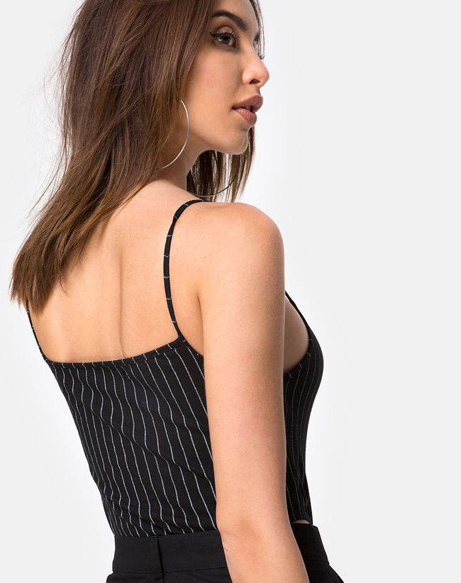 Solemo Bodice in Pinstripe Black by Motel