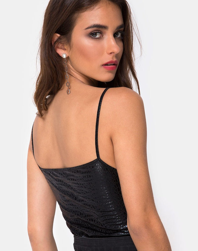 Solemo Bodice in Snake Black By Motel