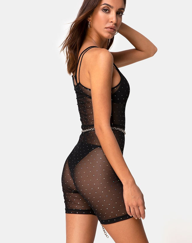 Solina Unitard in Crystal Net Black by Motel