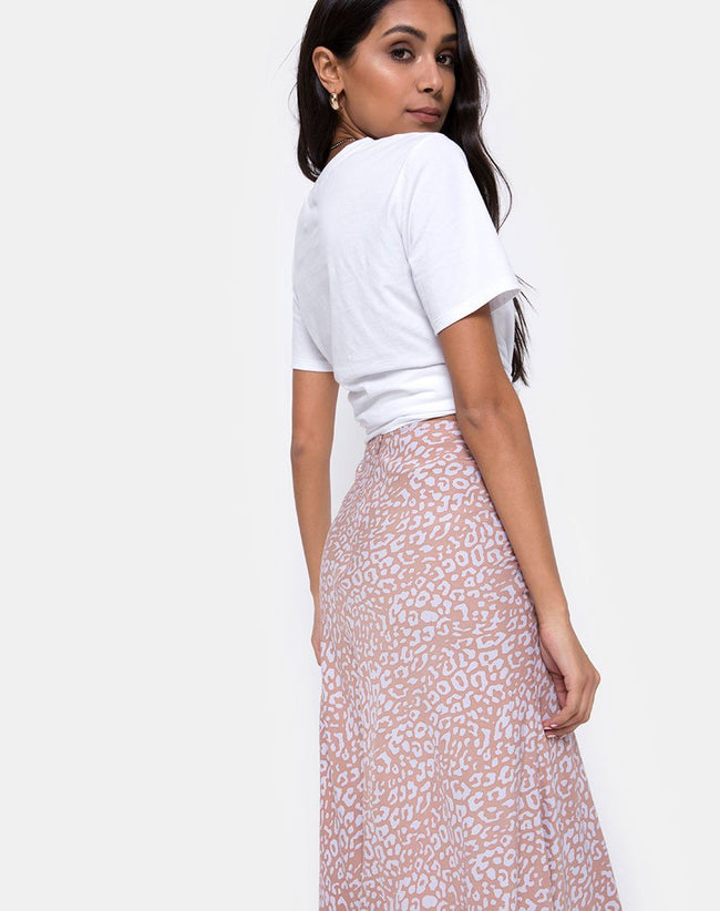 Tauri Midi Skirt in Leopard Spot by Motel