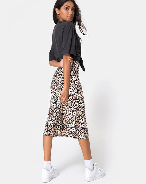 Tauri Midi Skirt in Pink Panther by Motel