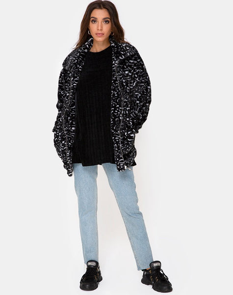Teddy Bear Fur Coat in Black Leopard by Motel