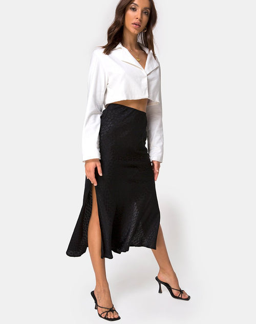 Tindra Skirt in Satin Ditsy Rose Black by Motel