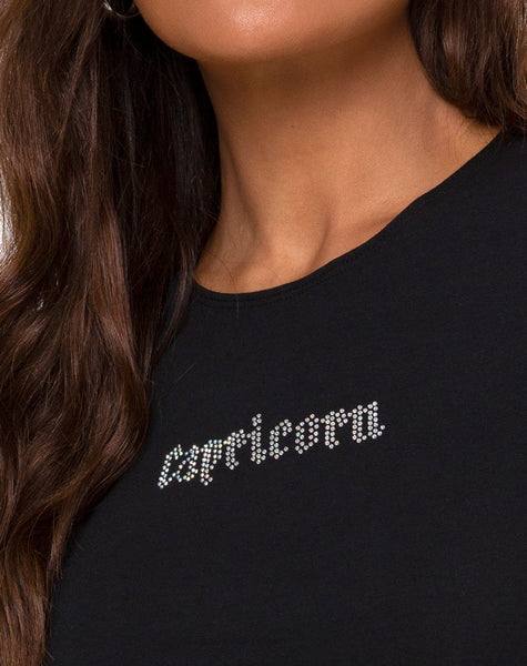 "Tiney Crop Top Tee in Black ""Capricorn"" Diamante by Motel"