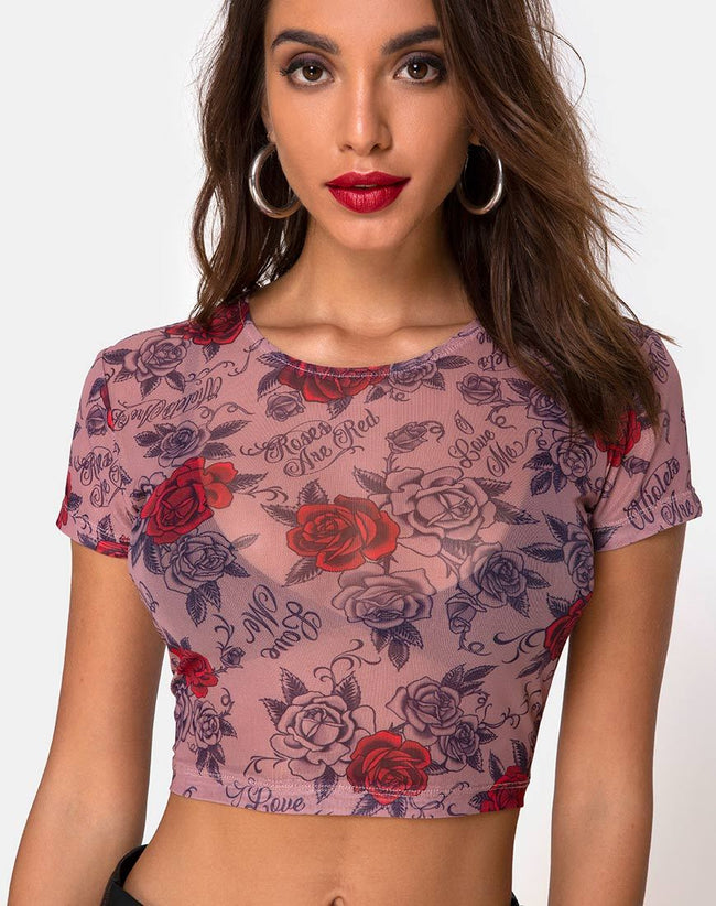 Tiney Crop Tee in Roses Are Red Mesh by Motel