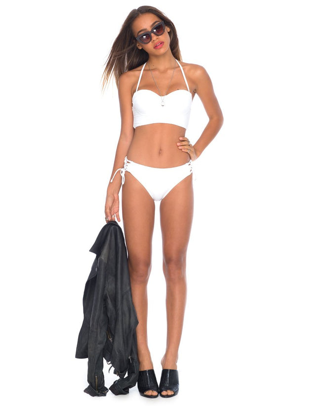 Torte Lace Up Bikini Bottoms in White by Motel