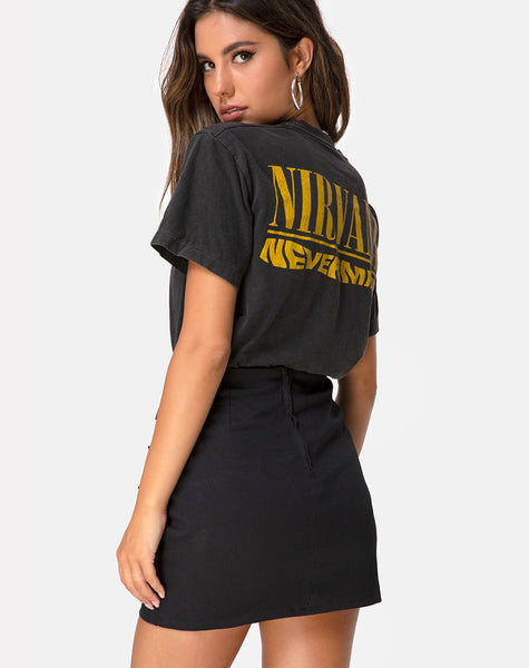 Tribel Mini Skirt in Black by Motel