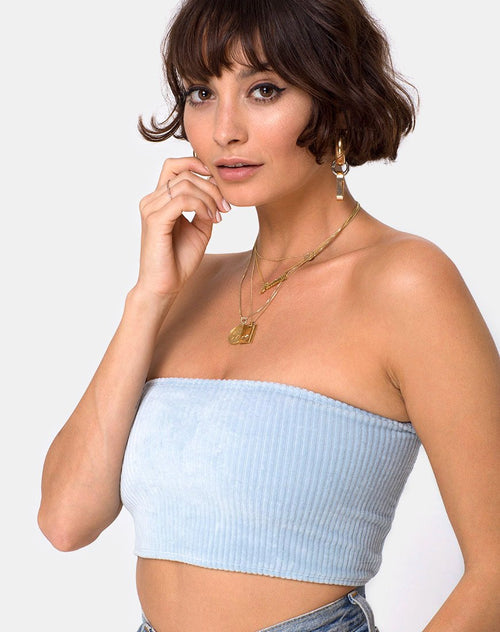 Tube Top in Fluffy Knit Baby Blue by Motel