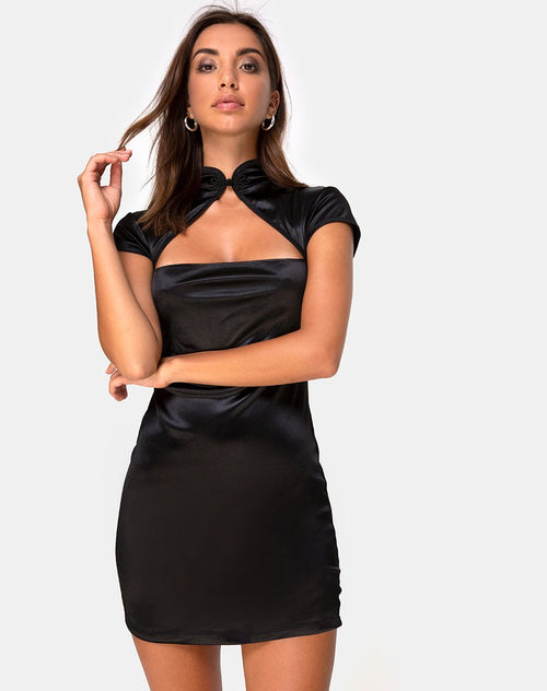 Tuli Mini Dress in Satin Black by Motel