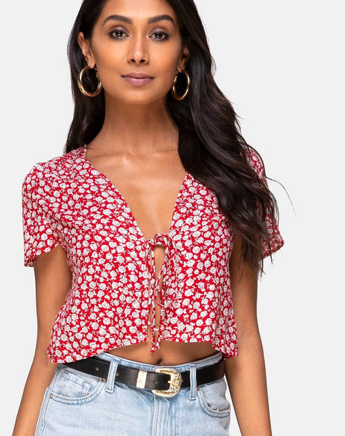 Vaco Top in Ditsy Red Rose and Silver by Motel