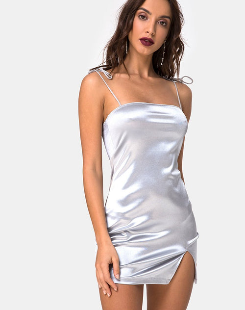 Verso Bodycon Dress in Satin Ice Silver By Motel
