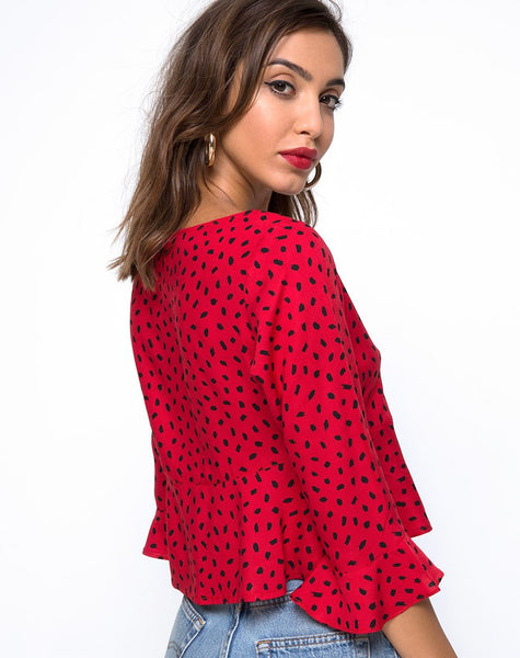 Vinequa Top in Mini Diana Dot Red and Black by Motel