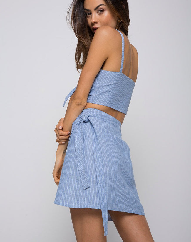 Violet Crop Top in Stripe Blue by Motel