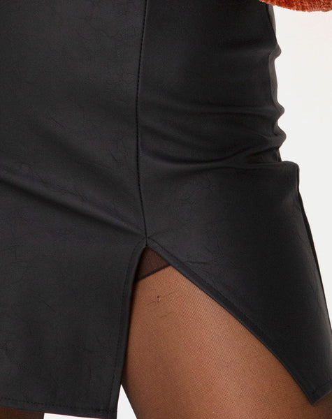 Wren Mini Skirt in Pu Matte Black by Motel