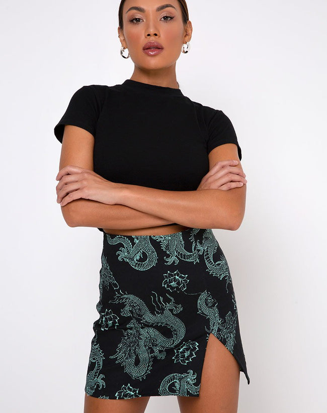 Wren Skirt in Dragon Flower Black and Mint by Motel