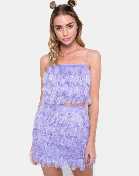 Wyne Skirt in Faux Fur Lilac by Motel