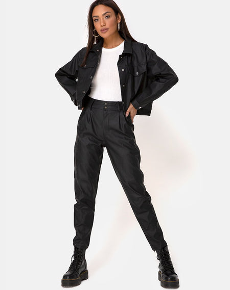 Zoven Trouser in PU Matte Black by Motel