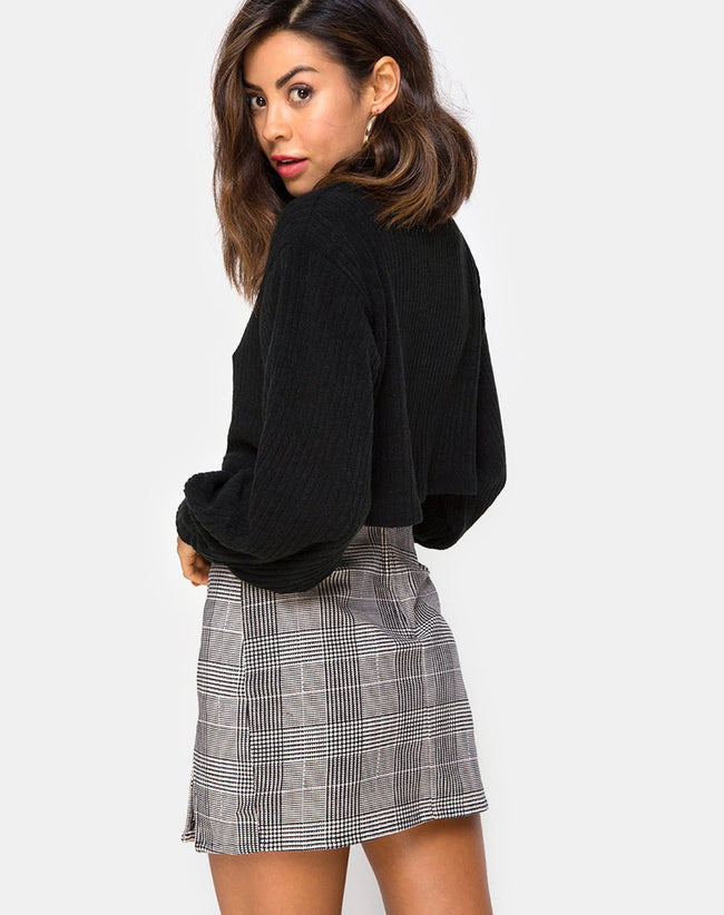 Zida Mini Skirt in Charles Check Grey By Motel