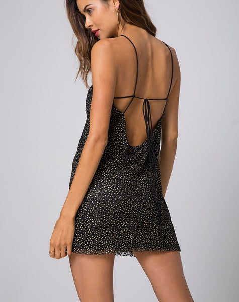 Ziggy Slip Dress in Glitter Animal Net black by Motel