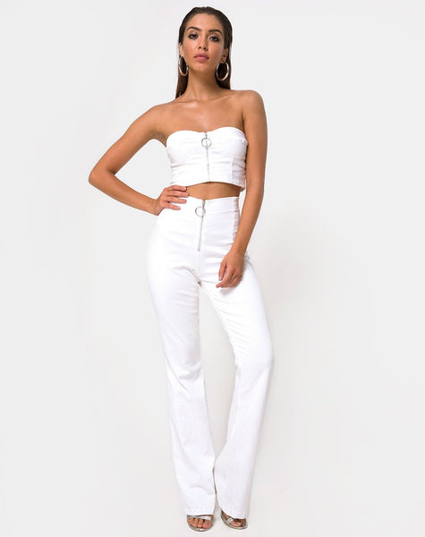 Zipshi Crop Top in White by Motel