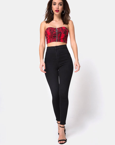 Zipshi Crop Top in Snake Red by Motel