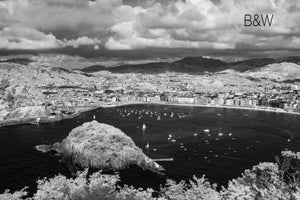 San Sebastian Bay Spain photography, black and white overhead aerial, Spanish sea sailing photo, Austin photographer, drone infrared photo