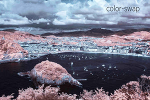 San Sebastian Bay Spain photography, blue and pink overhead aerial, Spanish sea sailing photo, Austin photographer, drone infrared photo