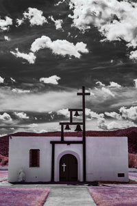 Ruidoso New Mexico chapel church photo, infrared photography, Austin photographer, black and white clouds pink grass