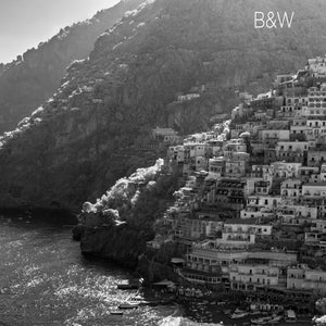 Amalfi Coast aerial photo, European infrared photography, drone photography, aerial city, Austin photographer, Positano Italy black and white ocean view