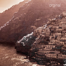 Amalfi Coast aerial photo, European infrared photography, drone photography, aerial city, Austin photographer, Positano Italy orange ocean view