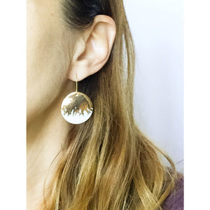 large brushed gold porcelain earrings, gold filigree jewelry, white and gold, gold studs, Austin jewelry, porcelain wearable art, social impact jewelry, ethical accessory