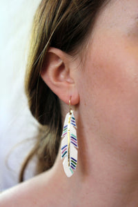 large feather earrings with color and gold accent