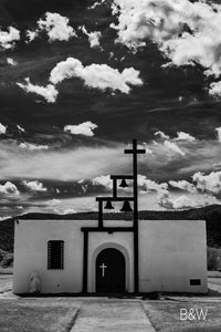 Ruidoso New Mexico chapel church photo, infrared photography, Austin photographer, black and white clouds