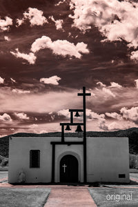 Ruidoso New Mexico chapel church photo, infrared photography, Austin photographer, sepia clouds
