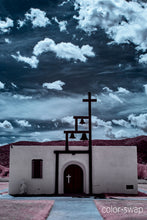 Ruidoso New Mexico chapel church photo, infrared photography, Austin photographer, turqouise clouds