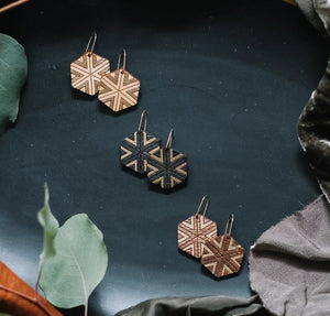 wood hexagon earrings with gold accent, geometric gilded earrings, Austin jewelry, artisan wood wearable art, social impact jewelry, ethical accessory