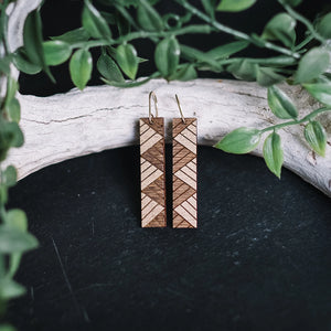 wooden rectangle earrings with gold accent, gilded rectangle earrings, Austin jewelry, artisan wood wearable art, social impact jewelry, ethical accessory