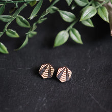 wood hexagon studs with gold accent