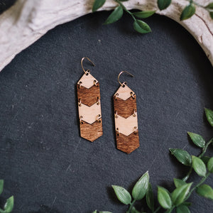 wooden chevron hanging earrings, Austin jewelry, artisan wood wearable art, social impact jewelry, ethical accessory, stained wood jewelry