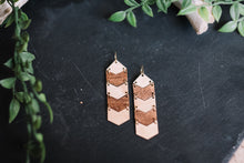 wood chevron hanging earrings, Austin jewelry, artisan wood wearable art, social impact jewelry, ethical accessory, stained wood jewelry
