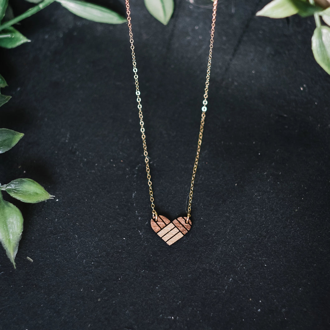 wooden heart geometric necklace, natural sweetheart jewelry, Austin jewelry, artisan wood wearable art, social impact jewelry, ethical accessory